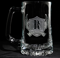 Wings and Shield Engraved Beer Mug