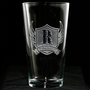 Wings and Shield Pub Pint Glass