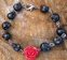 Day of the dead Bracelet Black skulls red Rose