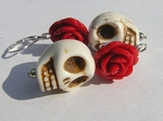 Day of the Dead Earrings, White Skull and Red Rose
