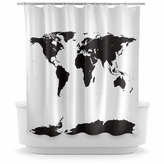 Opima Black World Map Shower Curtain