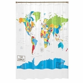 Saturday Knight World Map Shower Curtain