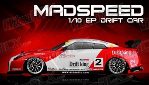 Exceed RC 2.4Ghz MadSpeed Drift King Brushless Edition 1/10 Electric Ready to Run Drift Car  (Sk-Red/White)