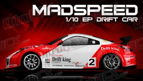 Exceed RC 2.4Ghz MadSpeed Drift King Edition 1/10 Electric Ready to Run Drift Car  (Red/White)