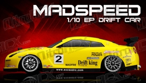 Exceed RC 2.4Ghz MadSpeed Drift King Edition 1/10 Electric Ready to Run Drift Car  (SK-Yellow)