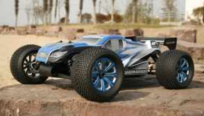 Professional 1/8Th Scale Exceed RC MadWarrior .28 Engine Nitro Gas Powered Almost Ready to Run ARTR  Off Road Truggy Racing Edition [Alpha Blue]