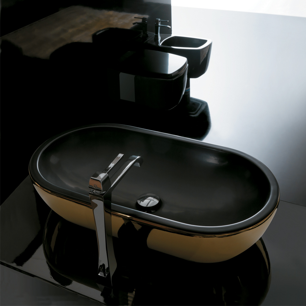 Black Bathroom Sink : ... ::: Midas Ceramic Gold Black Ultra Modern Gold Black Vessel Sink