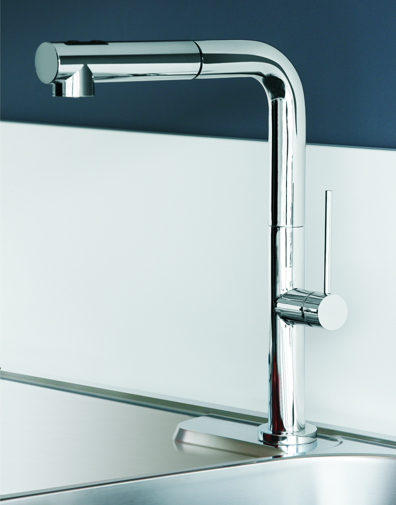 slim 1 dual chrome modern kitchen faucet pull out dual shower