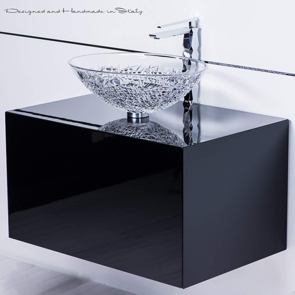 Elegant Bathroom Sinks: Elegant Italian Crystal Vessel Sink With Polished Chrome