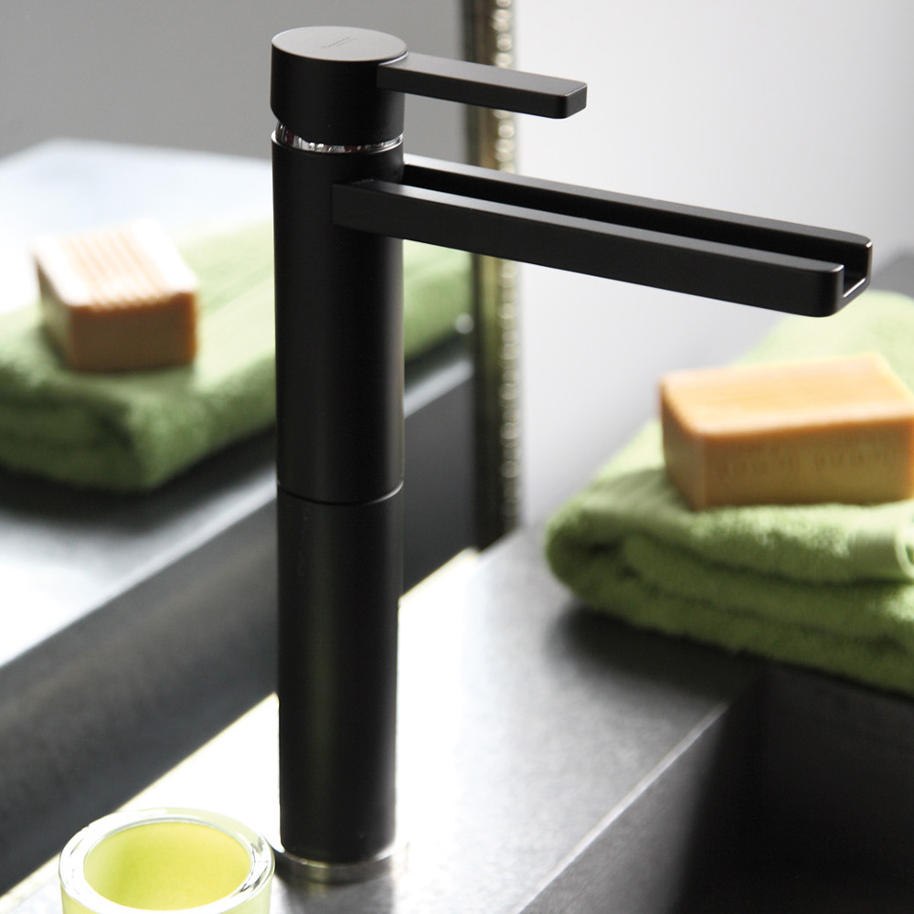 High End Faucets : ... Faucets ::: Single Hole Bathroom Faucets ::: AQUA BLACK MAT HIGH END