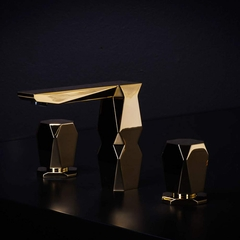 IKON 3-Hole Polished Gold Luxury Bathroom Faucet