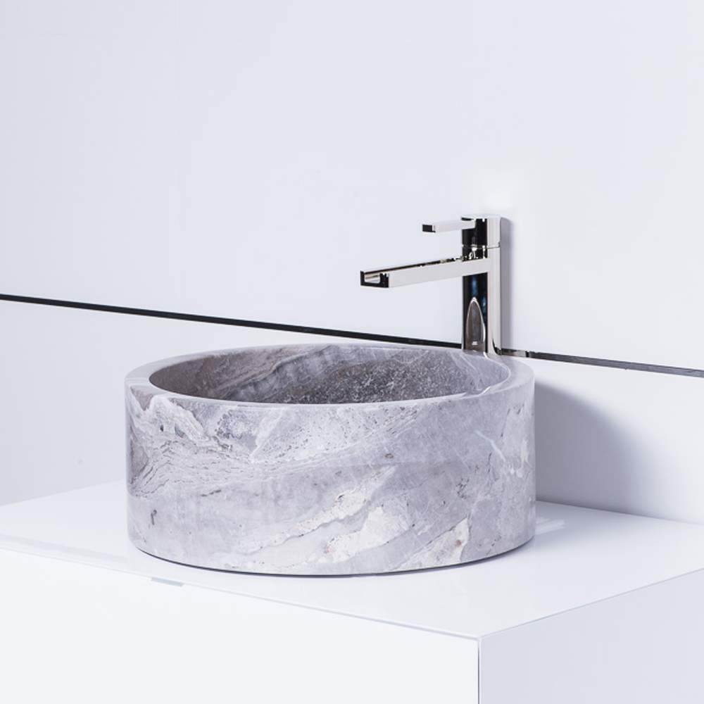 Koh Samui Natural Stone Luxury Vessel Sink Grey-Taupe