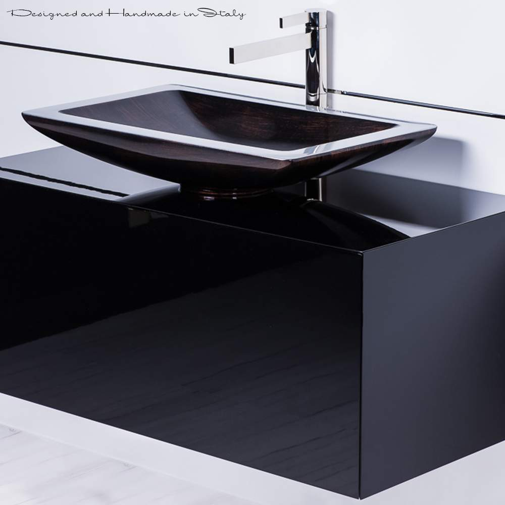Modern Faucets Bathroom Inch Black Bathroom Vanity With Rectangular Vessel Sink And Faucet
