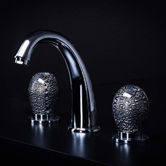 MURANO 3-Hole Black Silver Luxury Bathroom Faucet