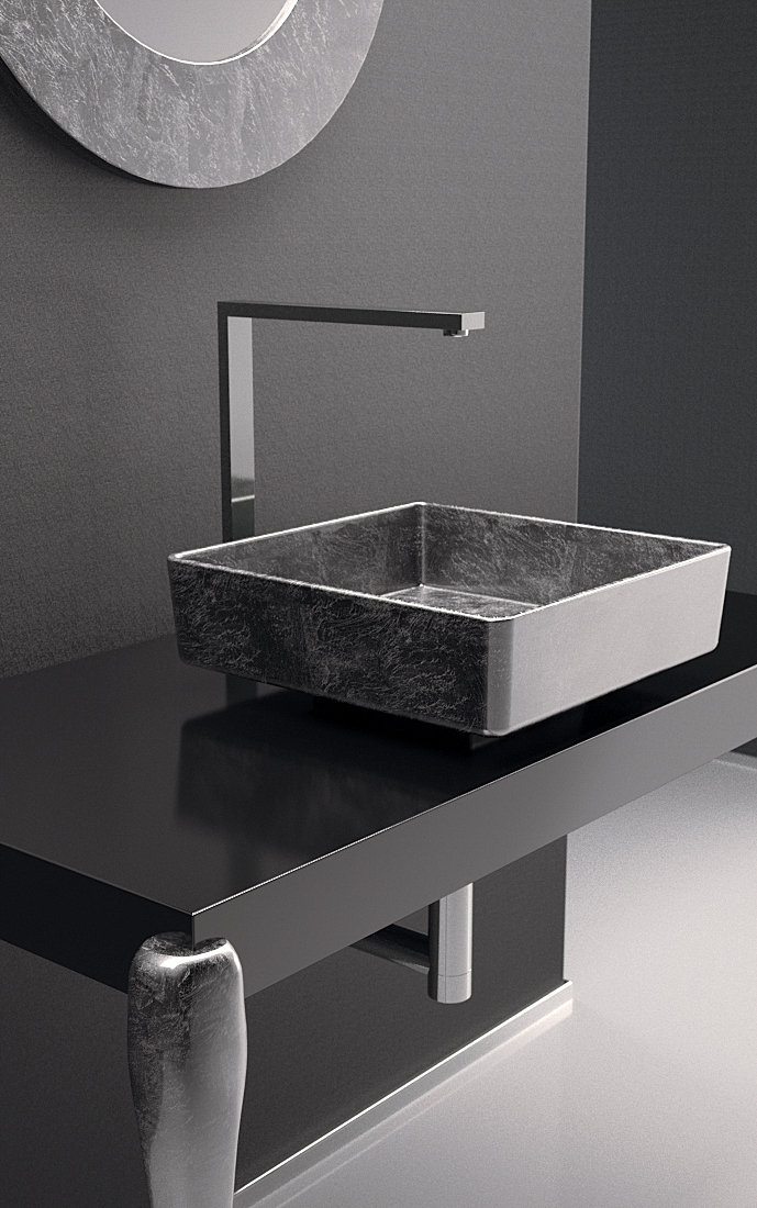 Silver Leaf Bathroom Vanity Console