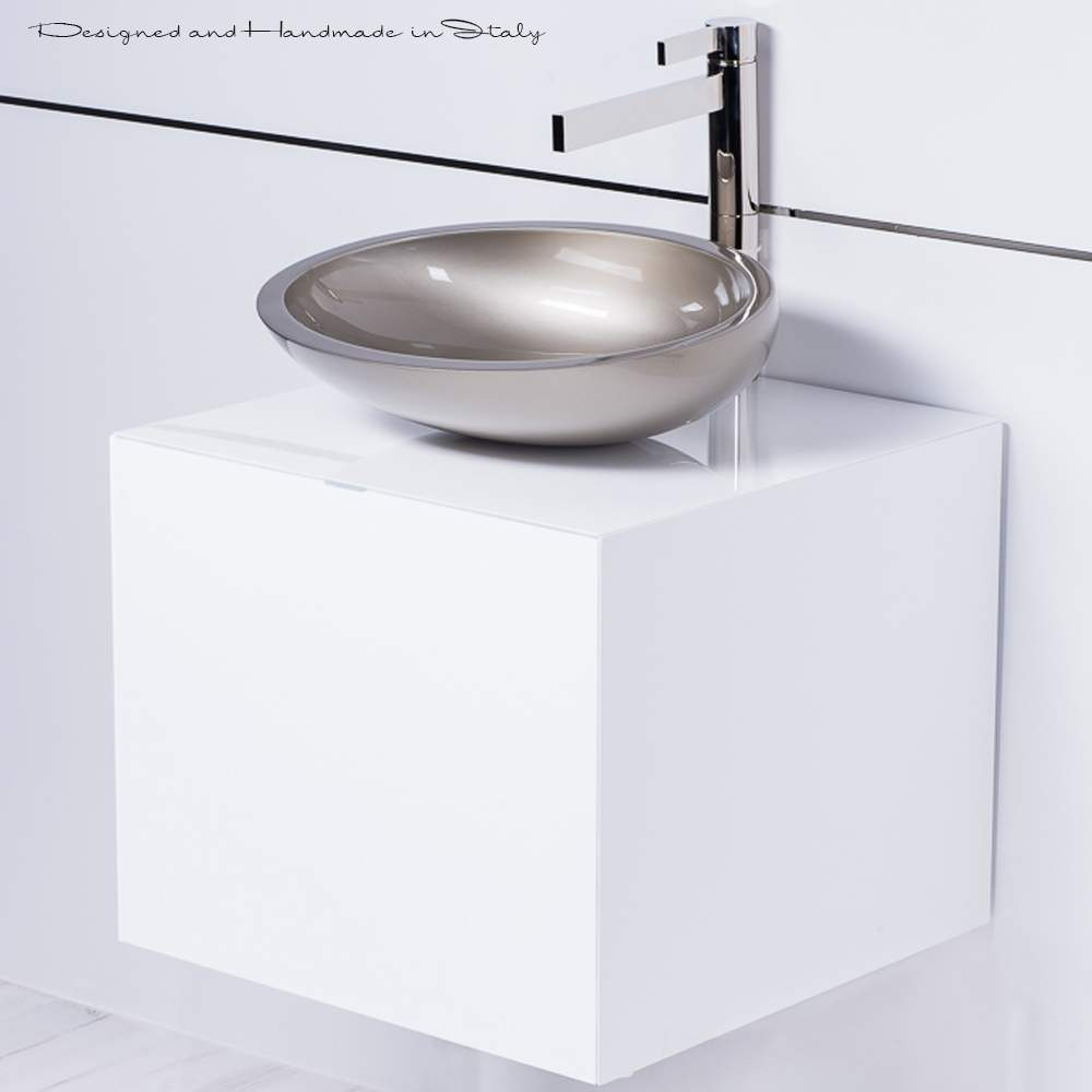 Small Vessel Sink Vanity : Modern small vessel sink and vanity combo