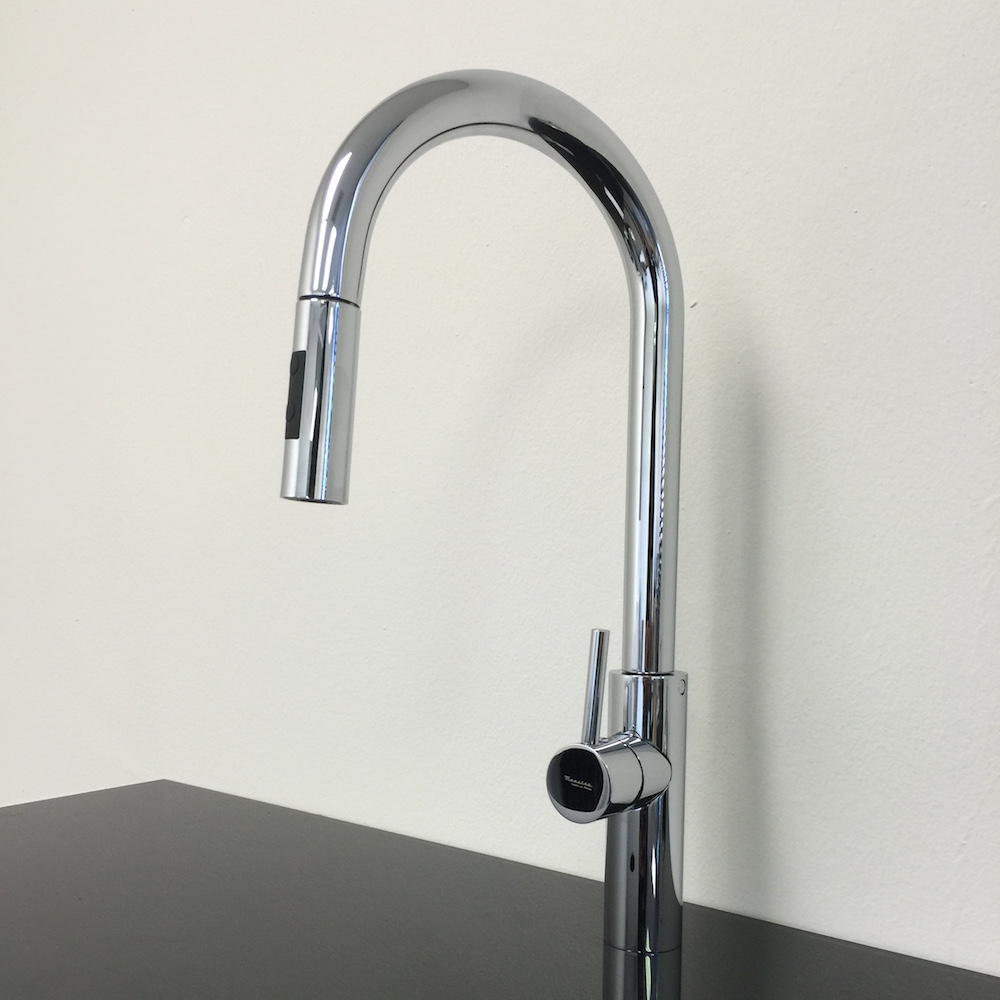modern chrome kitchen faucet with pull out mono shower