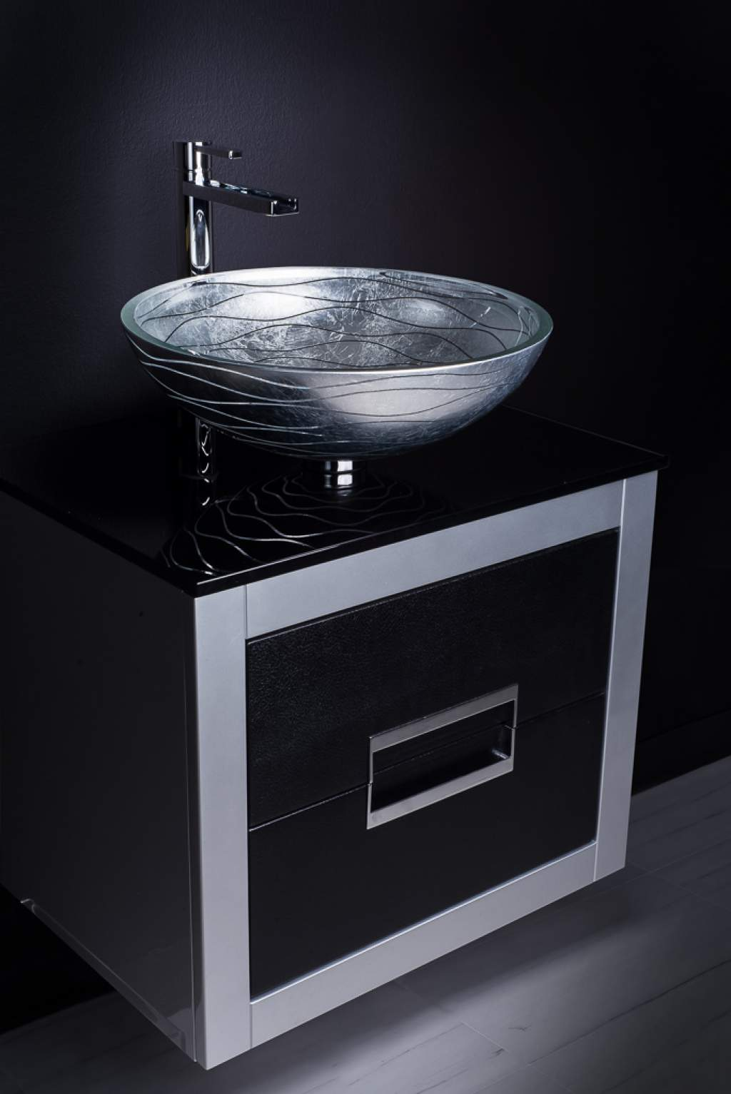24 inch leather front bathroom vanity and sink bo