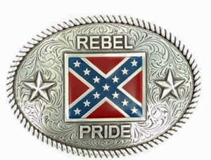 Nocona Rebel Flag Oval Buckle 37052