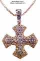 14 Stations Cross Gold & Silver w/Cubic Zirconia