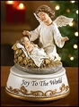 Angel at the Manger Musical Figurine