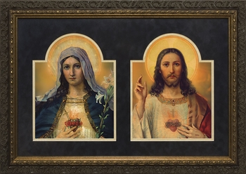 Antique Sacred and Immaculate Hearts (Matted Together) - 2 Framed Options