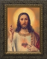 Antique Sacred Heart (Ornate Dark Frame) - 4 Framed Options