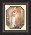 At Heart's Door by Warner Sallman Mahogany Frame - Christian Art