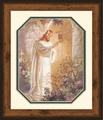At Heart's Door by Warner Sallman Rustic Pine Frame - Christian Art