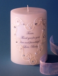 Clear Swarovski Crystal Heart Lace 3x4 Thank You Candle