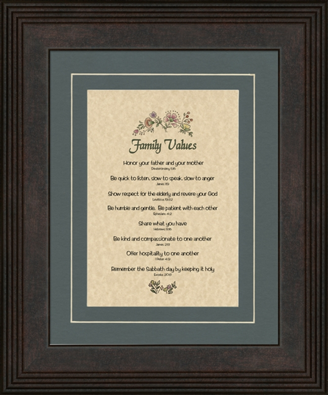 family values framed christian art 4 frames available