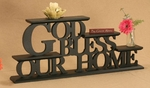 God Bless Our Home Carved Word Shelf