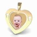 Heart Pendant with Crosses Personalized Photo on Gold