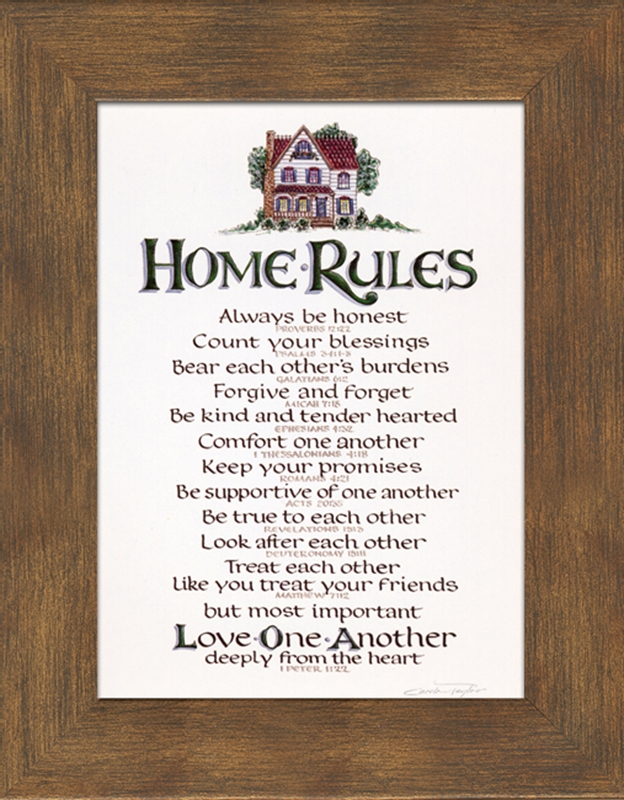 home rules christian wall decor 7 frames available