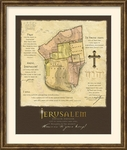 Jerusalem Map - Framed Christian Wall Decor