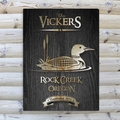 Personalized Loon Black Wood-Grain Cabin Canvas