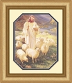 Shepherd by Warner Sallman Gold Frame - Christian Art