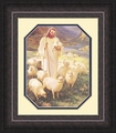 Shepherd by Warner Sallman Mahogany Frame - Christian Art