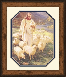 Shepherd by Warner Sallman Rustic Pine Frame - Christian Art