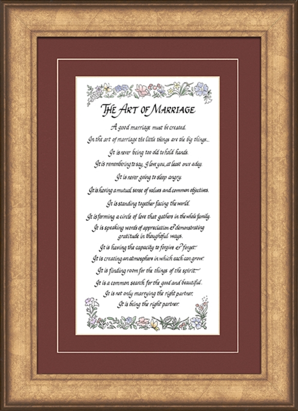 the art of marriage poem christian wall decor 2 frames available