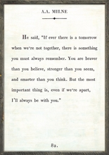 A.A. Milne Quote Vintage Art Print with Grey Wood Frame