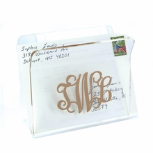 Acrylic Mail or Napkin Holder with Gold Monogram