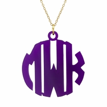 Acrylic Monogram Necklace - Block
