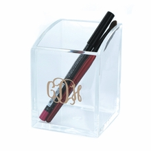 Acrylic Pen or Storage Cup with Gold Monogram