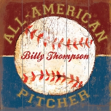 All American Pitcher Vintage Wood Sign