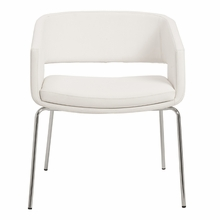 Amelia Lounge Chair in White and Chrome - Set of 2