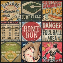 America's Favorite Pastime Baseball Collage Canvas Wall Art