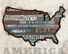 American Byways America Map Canvas wall Art
