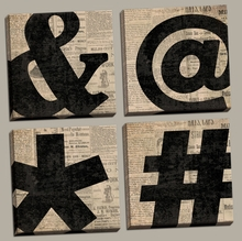 Ampersand, At Symbol, Asterisk, Number Sign Canvas Wall Art Set