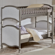 Pewter Upholstered Twin Bunk Bed
